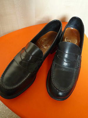 Rare True Vintage LOTUS Black Leather Penny Loafers Women size UK 3.5
