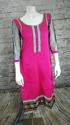 CBAZZAR Women's Middle Eastern Indian Suit Top Hot Pink Sheer Black Sleeves