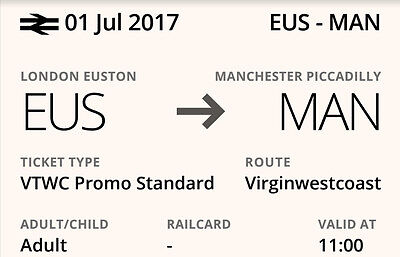 Two tickets London Euston to Manchester Picadilly Sat July 1