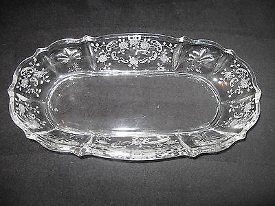 Fostoria Oval Clear Glass Relish Bowl; Etched Meadow Rose Floral; Elegant Edge