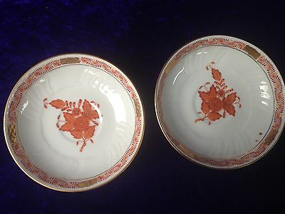 Herend AOG Chinese Bouquet Rust Saucers x 2