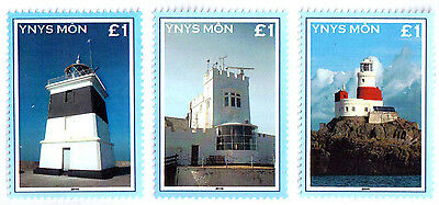 GB Local Cinderella Isle of Anglesey (Wales) Lighthouse Stamp Set 3v Perf UMM