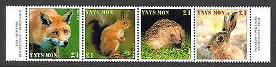 Isle of Anglesey Mammals Strip (4v) PERF UMM Hedgehog, Fox, Red Squirrel, Hare