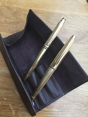 Cross Gold Pen And Pencil In Cross Leather Pouch