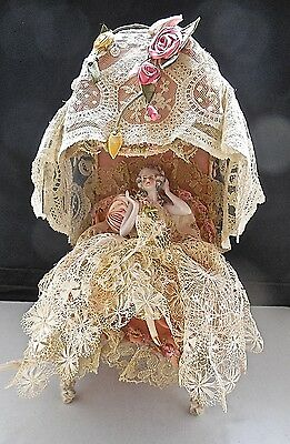Vintage Boudoir Canopy Chair Lamp With Seated Porcelain Half Doll With Legs