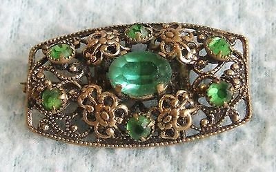 Antique EDWARDIAN 1900s Emerald Green Glass Ornate Filigree Design BROOCH