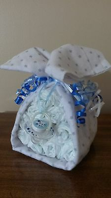 Diaper Cake Stork Bundle Stars Baby Shower Gift for Boy