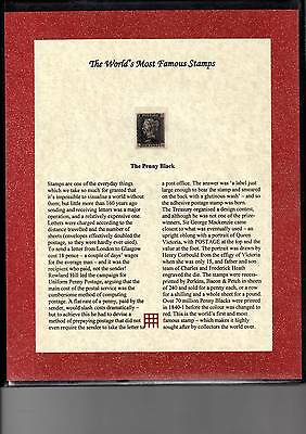 1840 1d Penny Black in Folder with Authenticity Certificate - 4 margins