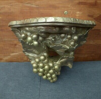 """Painted Antiqued Gold Plaster Grapes Leaves & Vines Hanging Wall Plate Shelf 11"""""""