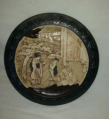 Bretby pottery Oriental style Black and cream Stoneware Plate