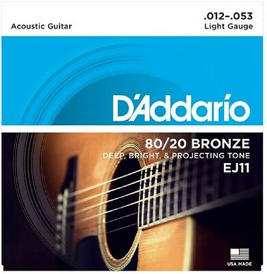 4 Sets D'Addario EJ11-3D Light Acoustic Guitar Strings 80/20 Bronze 12-53