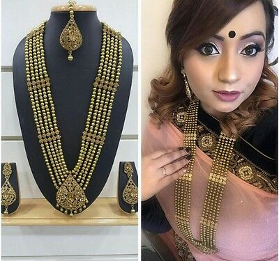 Indian Bollywood Long Necklace Gold stones necklace,earrings & mang tikka