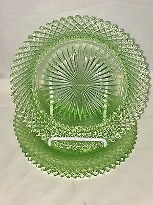 "3 Anchor Hocking MISS AMERICA GREEN *6 3/4"" PLATES*"