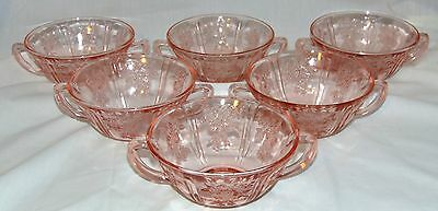 """6 Federal SHARON/CABBAGE ROSE PINK *5"""" CREAM SOUP BOWLS*"""