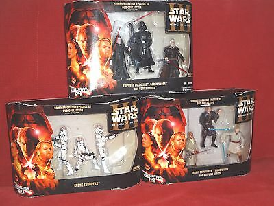 Set of 9 Star Wars Revenge of Sith DVD Collection Figures 3 Boxes Vader Anakin