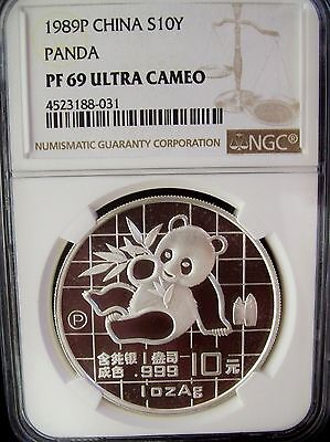 1989 China Panda 10 Yuan NGC PF69 Ultra Cameo 1 Ounce Silver Proof Coin
