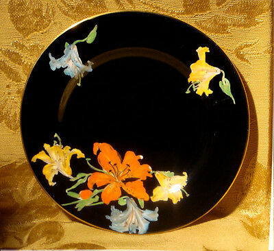 Aynsley Tiger Lilies On Black Bread & Butter Plate Made In England B4823
