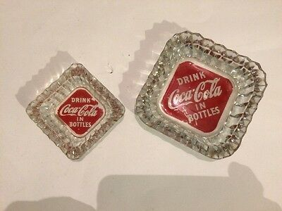 2 Early Drink Coca Cola In Bottles Diamond ASHTRAYS Trademark in Tail of 1st C
