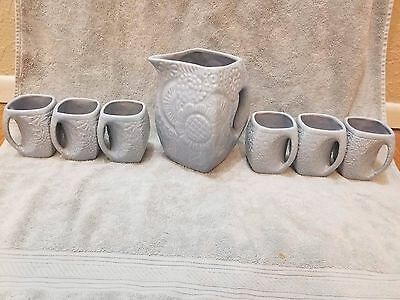 Vintage Niloak Pottery 7pc Flower Pitcher and Mug Set NILOAK Stamped On Bottom