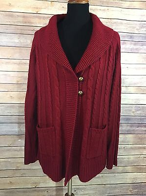Motherhood Maternity Womens Size M Long Sleeved Red Chunky Button Front Cardigan