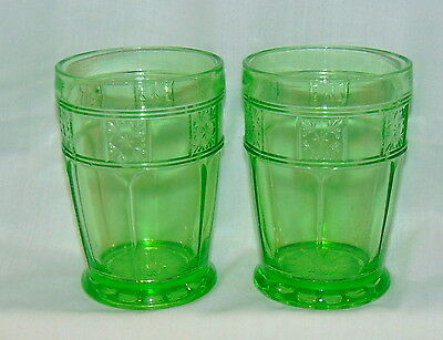 "2 Jeannette DORIC GREEN* 4 1/2"" - 9 oz TUMBLERS* HARD TO FIND*"