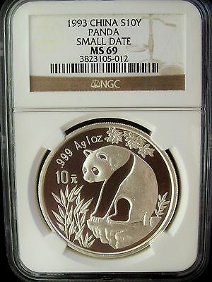 1993 China Panda Small Date 10 Yuan NGC MS69 1 Ounce Silver Coin