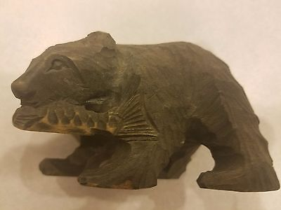 Vintage Wooden Bear Holding A Fish Composition Carved Style Statue Figurine