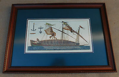 Goussier 1750 Copper Etching Marine Design Galley Rowed Named Reale