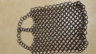 antique steel maille scrubber for cast iron, primitive