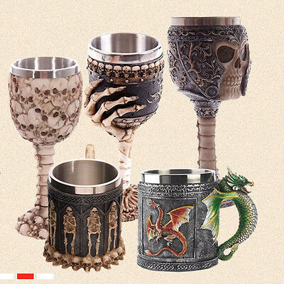 Creative 3D Stainless Steel Dragon Knight Skull Cup Gothic Goblet Spine Chalice