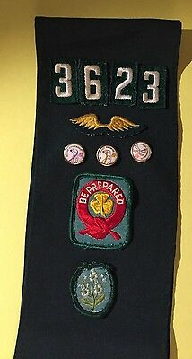 1960s Girl Scout Sash with Merit Badges and Pins vintage