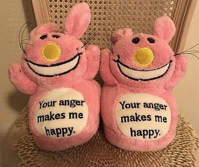 IT'S HAPPY BUNNY Your Anger Makes me Happy Women's pink slippers 8-9 jim benton