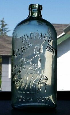Antique Buffalo Lithia Water HG Spring Water Bottle BEST BOLD IMPRESSION MINT