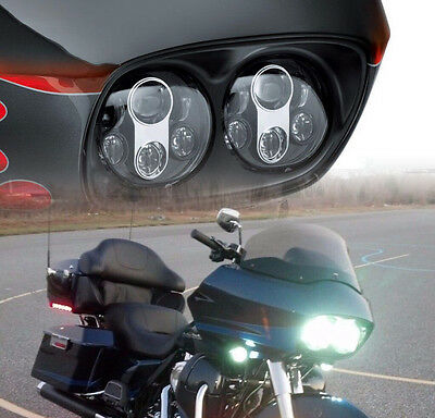 Dual Cree LED Headlight Projector Daymaker Hi/Lo For Harley Road Glide 2003-2013