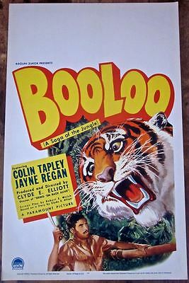 Booloo - Original 1938 Window Card Poster - Jungle Action Thriller Tiger Art!!