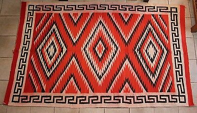 """Large 93"""" x 55"""" Antique Early 1900s Native American Navajo Rug Lightning Design"""