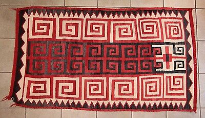 """Antique Early 1900s Native American Navajo Rug 64"""" x 37"""""""
