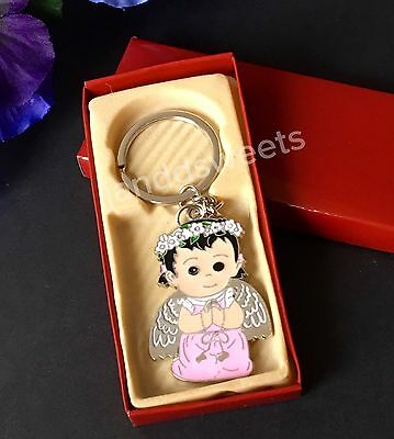 12 pc BAPTISM KEY CHAINS PINK ANGEL BAUTIZO COMMUNION RECUERDOS FAVORS KNEE boxe