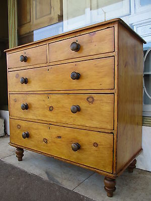 Victorian Antique Pine Chest Of Drawers / Antique Pine Bedroom Chest Of Drawers
