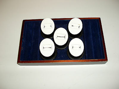 Ring Display Case Velvet Lined Wood Tray 5 Individual + Cushioned line for rings