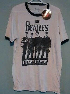 NWT Beatles T-shirt Vintage Ringer Style Jack of All Trades Size L