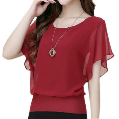 Fashion Women Ladies Summer Loose Casual Chiffon Short Sleeve Shirt Tops Blouse