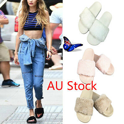 AU Women's Slip On Flat Rubber Slider Mules Fur Slipper Lady Girls Sandals Shoes