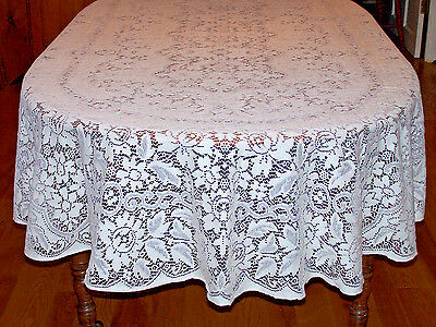 """Vintage Quaker Lace Tablecloth, """"antique Rose"""",  108"""" Banquet Sized, Never Used"""