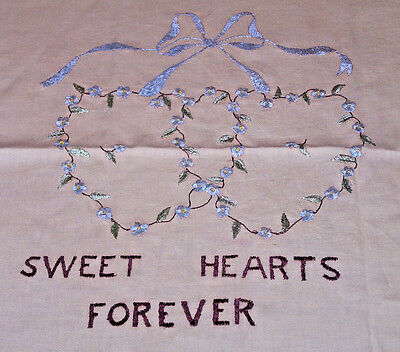 "Fabulous Vintage ""society Silk"" Sampler, Pillow Top, ""sweet Hearts Forever"" 1920"