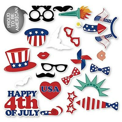 26pcs Photo Booth Props Kit for 4th of July Independence Day Party Decorations