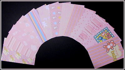 "Baby Girl Scrapbooking/Cardmaking Papers*PRETTY IN PINK* - 15cm x 10cm  (6""x 4"")"