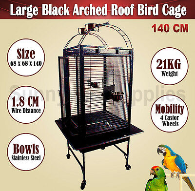 Large 140CM Black Arched Roof Pet Bird Parrot Canary Cage Castor Wheels