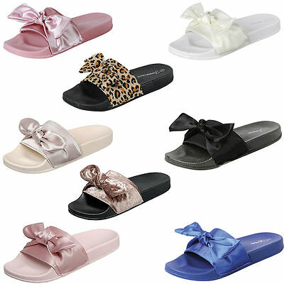 Women's  Satin Bow Rihanna Slide Rubber Molded Footbed Slippers Sandals Shoes