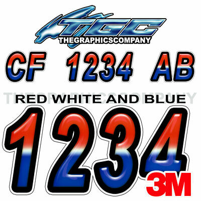 RED WHITE BLUE Custom Boat Registration Numbers Decals Vinyl Lettering Stickers